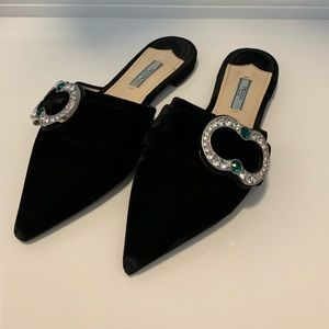 Prada Black Velvet Pointy Toe Sandals